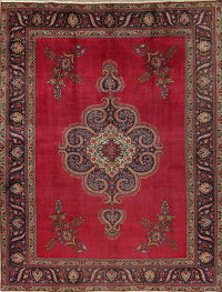 Red Geometric Tabriz Persian Hand-Knotted 9x12 Wool Area Rug
