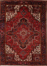 Red Geometric Heriz Persian Hand-Knotted 8x11 Wool Area Rug