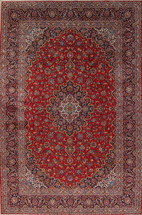 Traditional Floral Kashan Persian Hand-Knotted 11x16 Wool Rug