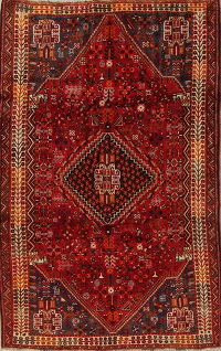 Tribal Red Kashkoli Persian hand-Knotted 6x9 Wool Area Rug