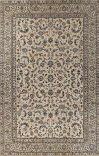 Antique Floral Kashan Persian Hand-Knotted 10x15 Wool Rug