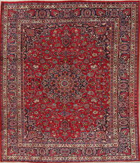 Traditional Floral Mashad Persian Hand-Knotted 8x10 Wool Area Rug