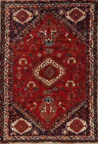 Tribal Geometric Shiraz Persian Hand-Knotted 6x9 Wool Area Rug