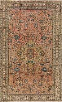 Geometric Ardebil Persian Hand-Knotted 5x9 Wool Area Rug