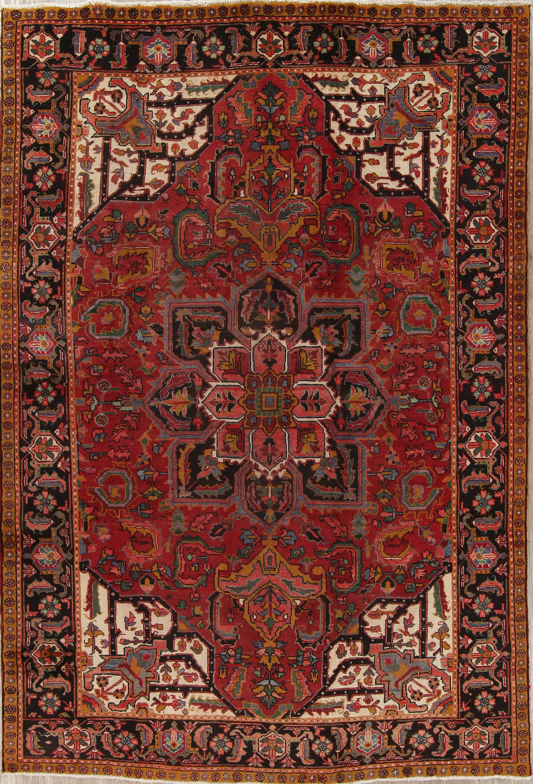 Geometric Heriz Persian Hand-Knotted 8x11 Wool Area Rug