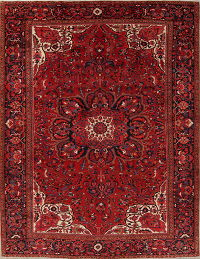 Geometric Heriz Persian Hand-Knotted 10x13 Wool Area Rug