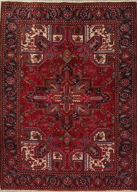Geometric Red Heriz Persian Hand-Knotted 6x9 Wool Area Rug