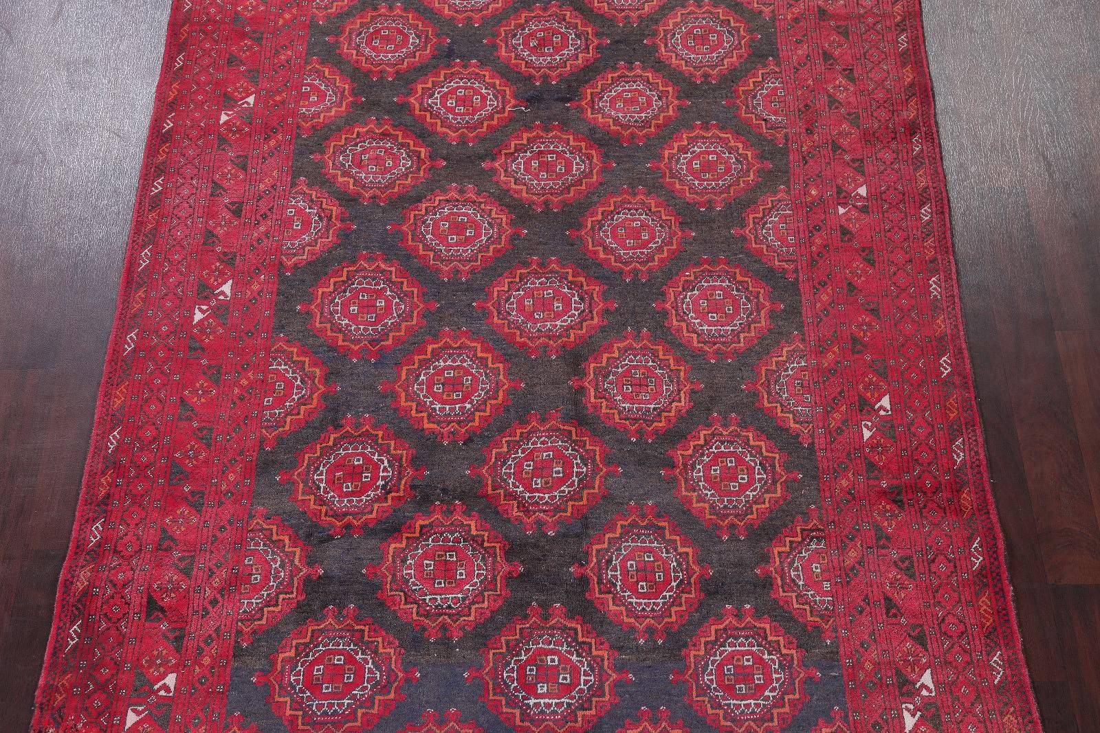Geometric Charcoal/Red Balouch Bokhara Persian 6x9 Wool Area Rug
