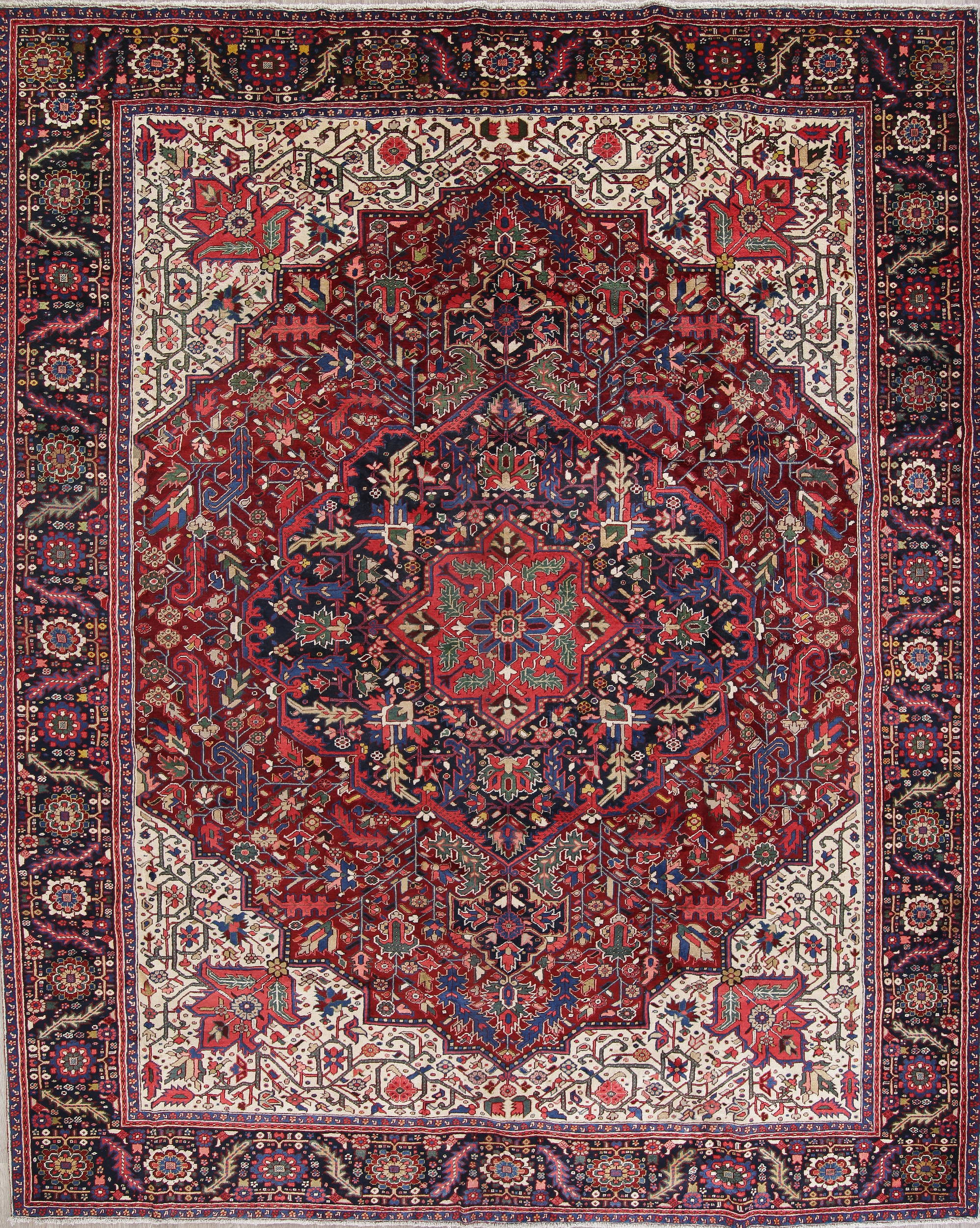 Palace Size Vegetable Dye Heriz Persian Hand Knotted 12x14 Wool Rug