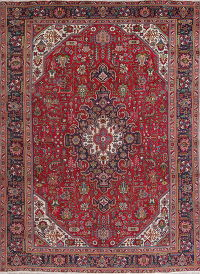 Vintage Geometric Red Tabriz Persian Hand-Knotted 9x13 Wool Area Rug
