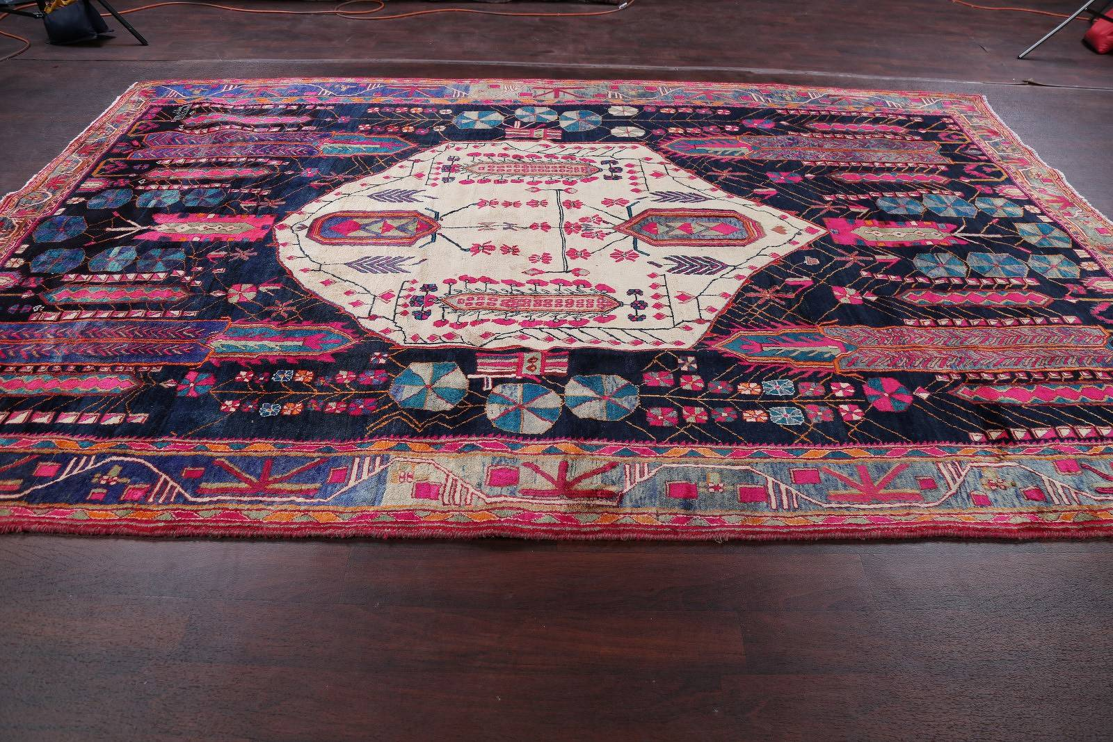 Navy Blue Tribal Afshar Persian Hand-Knotted 8x12 Wool Area Rug
