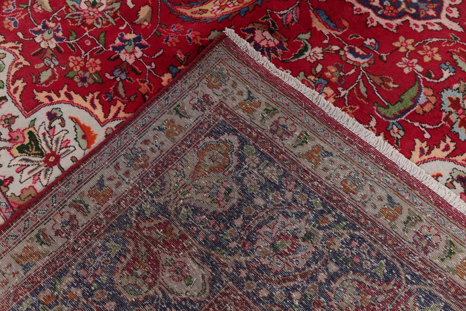 Vintage Red Tabriz Persian Hand-Knotted 9x13 Wool Area Rug