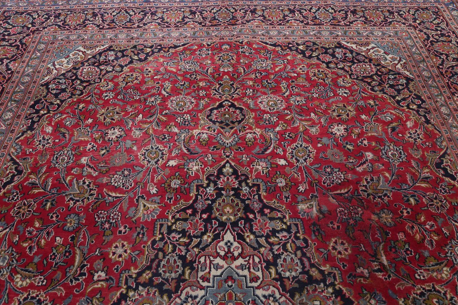 Traditional Floral Mashad Persian Hand-Knotted 10x13 Wool Area Rug