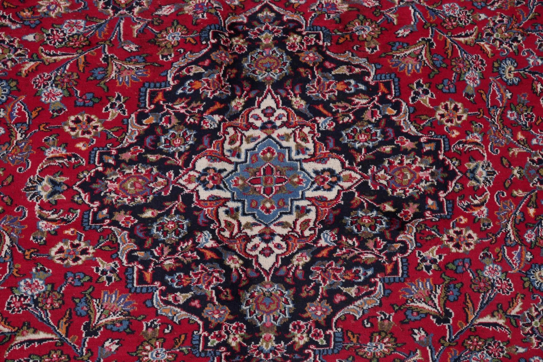 Traditional Floral Mashad Persian Hand-Knotted 10x12 Wool Area Rug