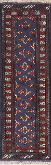Blue Geometric Bokhara Persian Hand-Knotted 2x7 Wool Runner Rug
