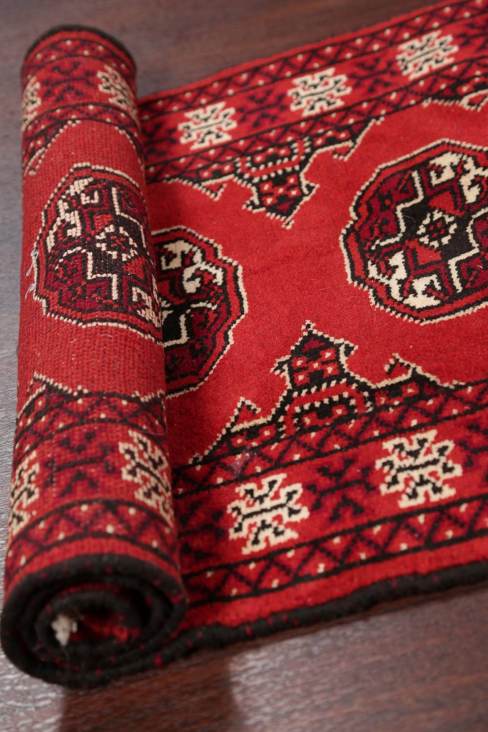 Red Geometric Balouch Persian Hand-Knotted 2x6 Wool Runner Rug image 13