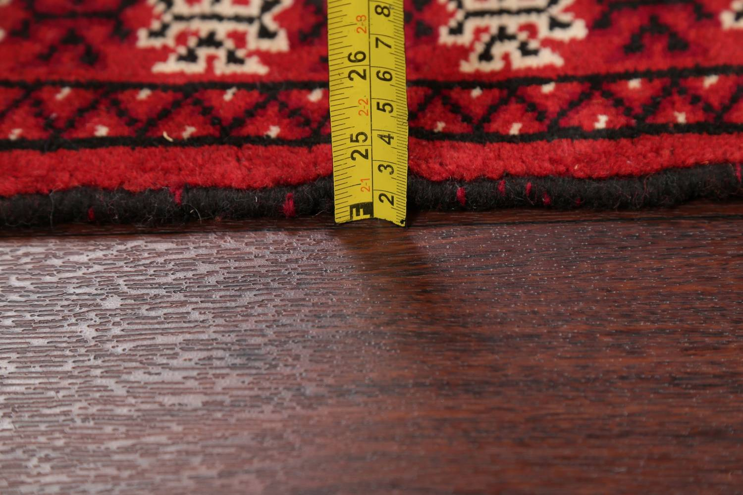 Red Geometric Balouch Persian Hand-Knotted 2x6 Wool Runner Rug image 16