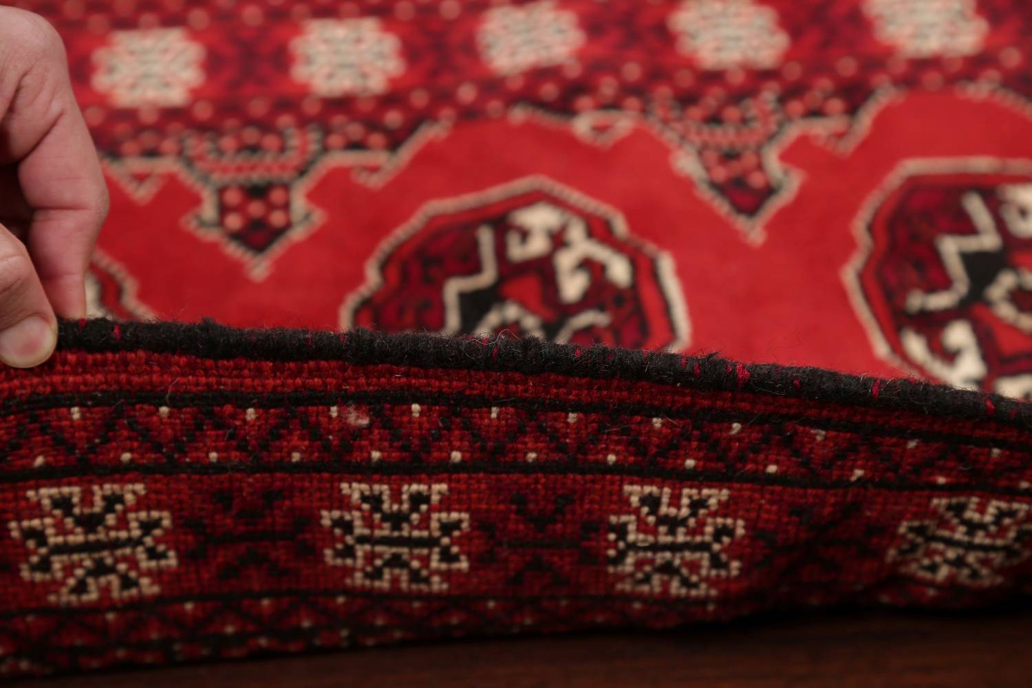 Red Geometric Balouch Persian Hand-Knotted 2x6 Wool Runner Rug image 15