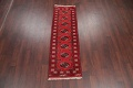Red Geometric Balouch Persian Hand-Knotted 2x6 Wool Runner Rug image 2
