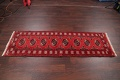 Red Geometric Balouch Persian Hand-Knotted 2x6 Wool Runner Rug image 11