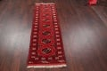 Red Geometric Balouch Persian Hand-Knotted 2x6 Wool Runner Rug image 12