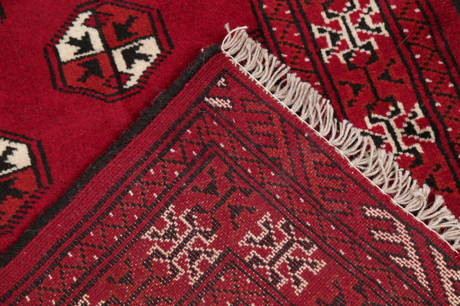Red Geometric Balouch Persian Hand-Knotted 2x6 Wool Runner Rug image 18
