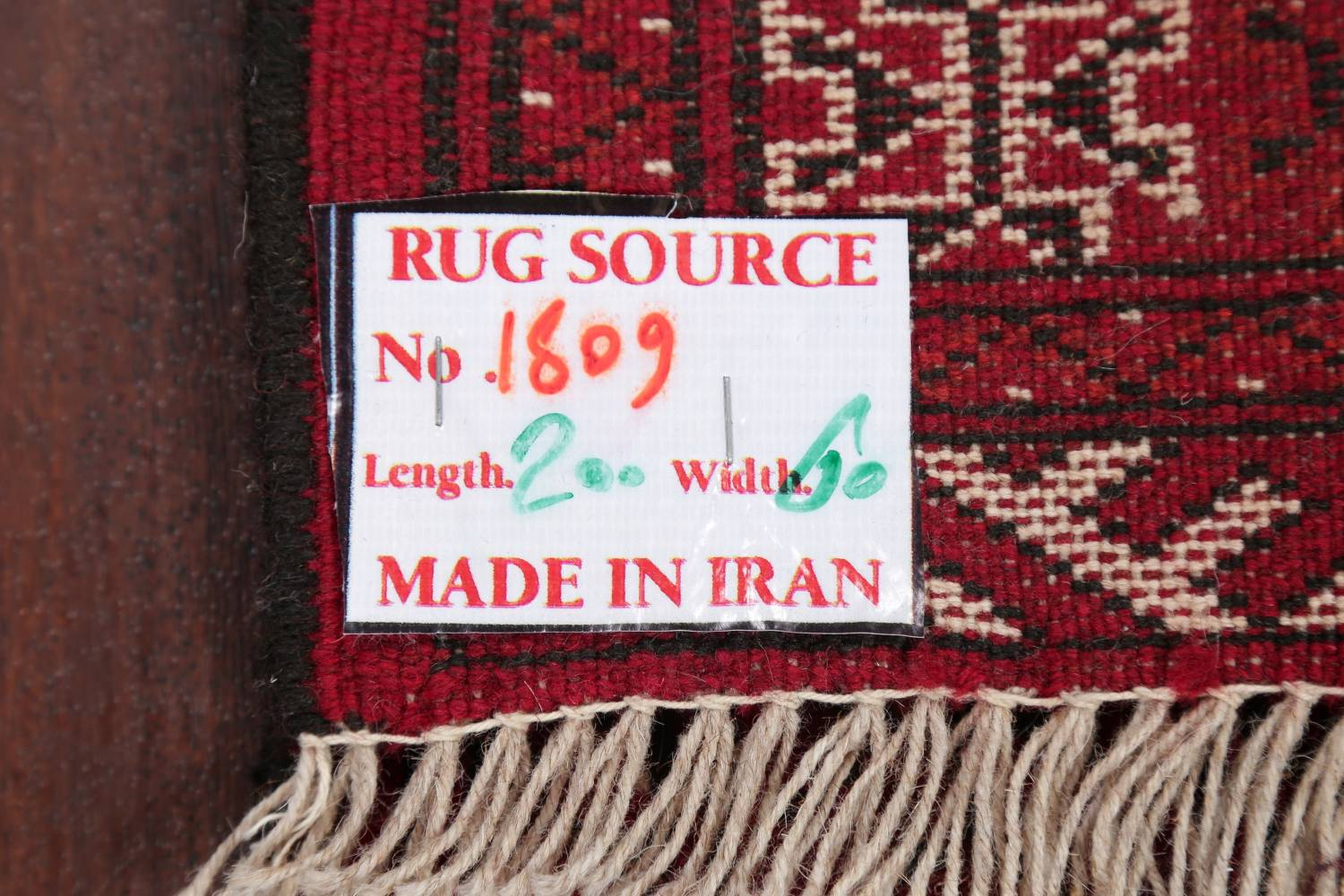 Red Geometric Balouch Persian Hand-Knotted 2x6 Wool Runner Rug image 19