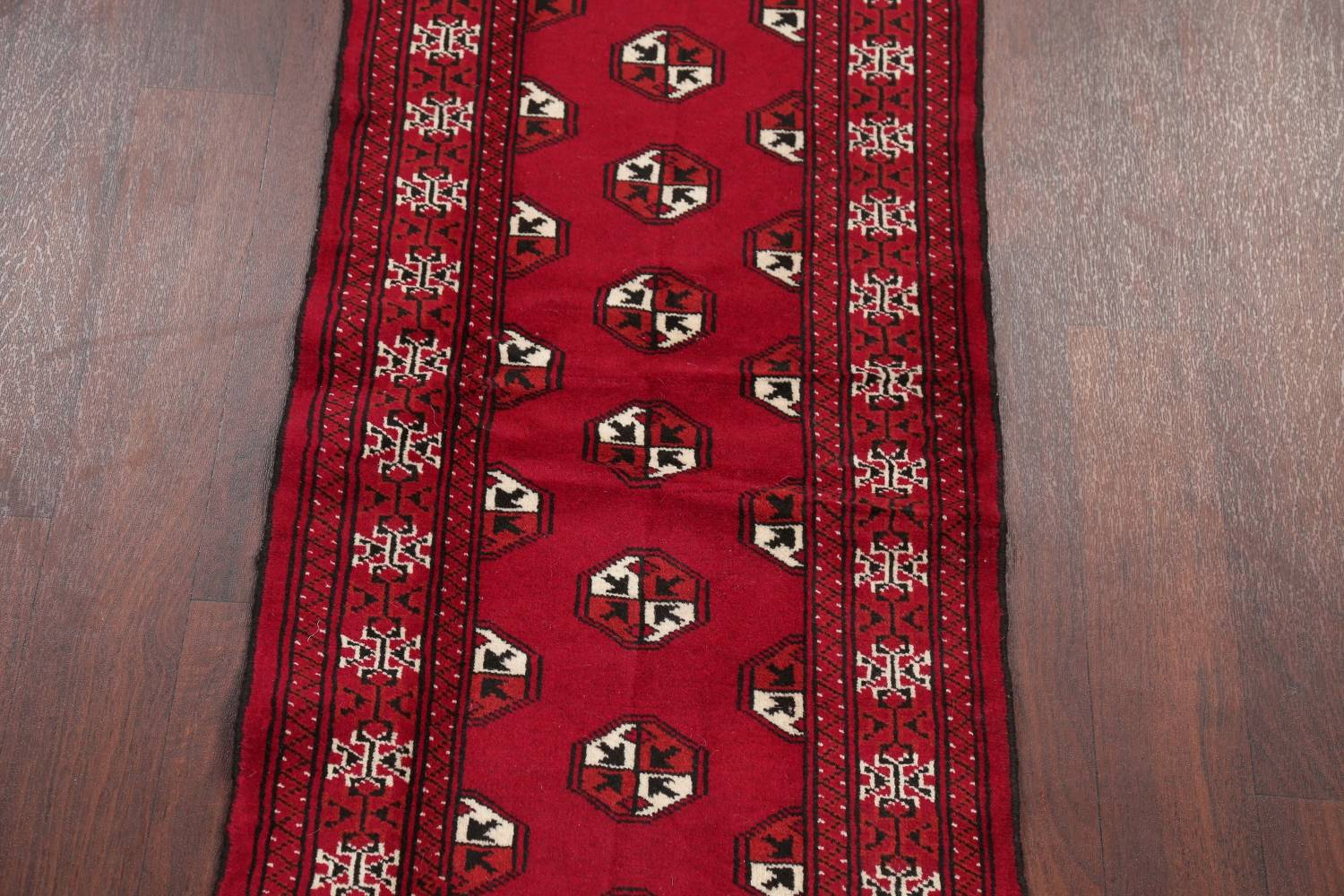 Red Geometric Balouch Persian Hand-Knotted 2x6 Wool Runner Rug image 3
