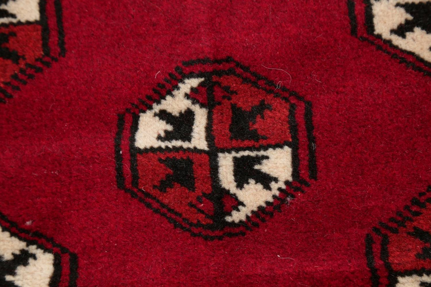 Red Geometric Balouch Persian Hand-Knotted 2x6 Wool Runner Rug image 8