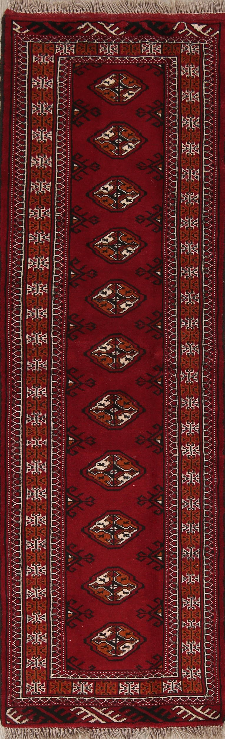 Red Geometric Balouch Persian Hand-Knotted 2x7 Wool Runner Rug
