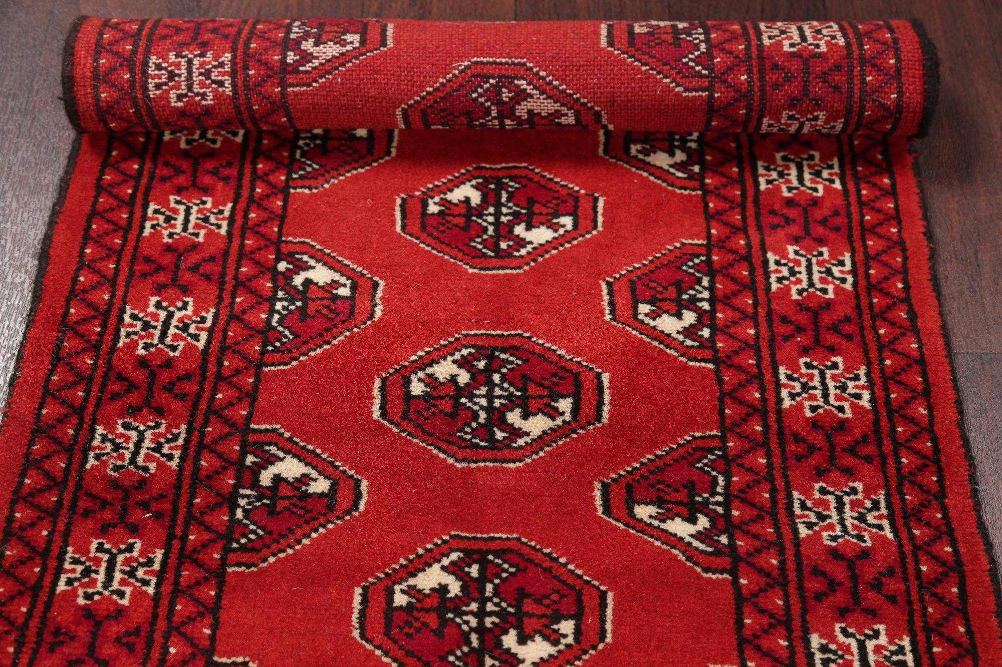 Red Geometric Balouch Persian Hand-Knotted 2x6 Wool Runner Rug