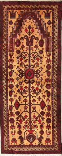 Gold/Red Geometric Balouch Persian Hand-Knotted 3x6 Wool Runner Rug