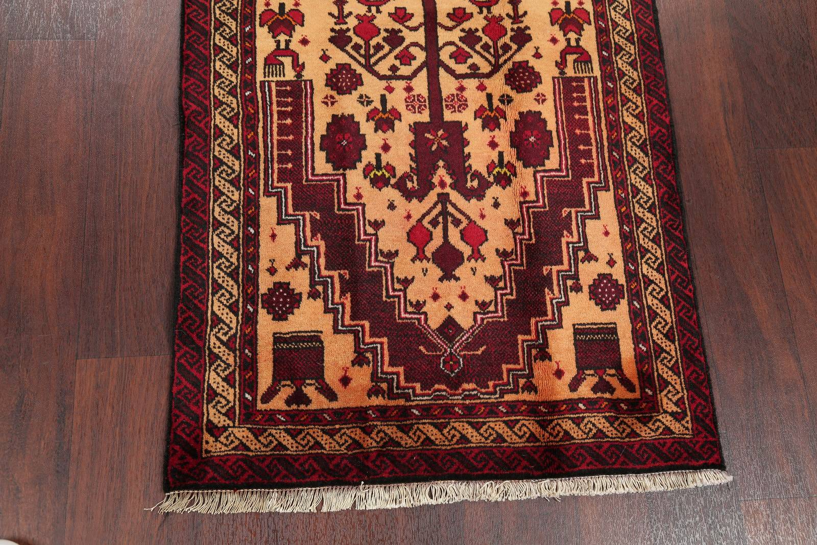 Gold Geometric Balouch Persian Hand-Knotted 3x6 Wool Runner Rug