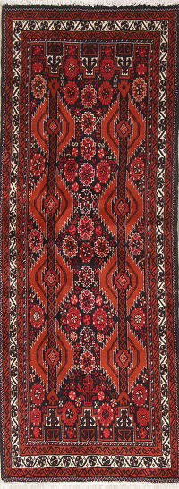 Geometric Balouch Persian Hand-Knotted 2x6 Wool Runner Rug