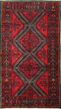 Red Geometric Hamedan Persian Hand-Knotted 4x8 Wool Runner Rug