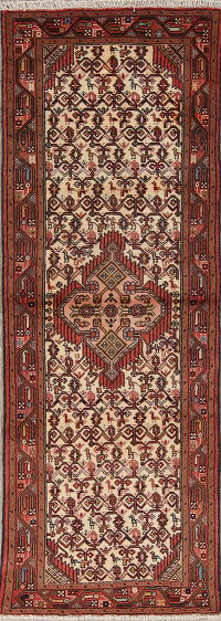 Tribal Geometric Hamedan Persian Hand-Knotted 2x7 Wool Runner Rug