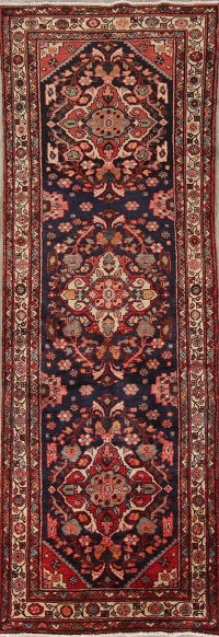 Navy Blue Floral Bakhtiari Persian 4x10 Wool Runner Rug