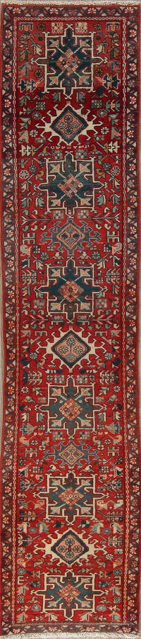 Geometric Gharajeh Prsian Hand-Knotted 2x8 Narrow Runner Rug
