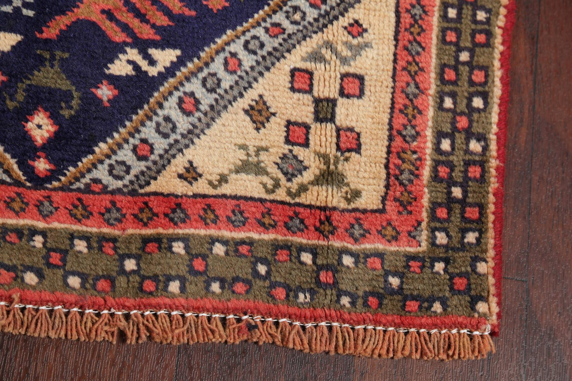 Tribal Ardebil Persian Hand-Knotted 2x10 Wool Runner Rug