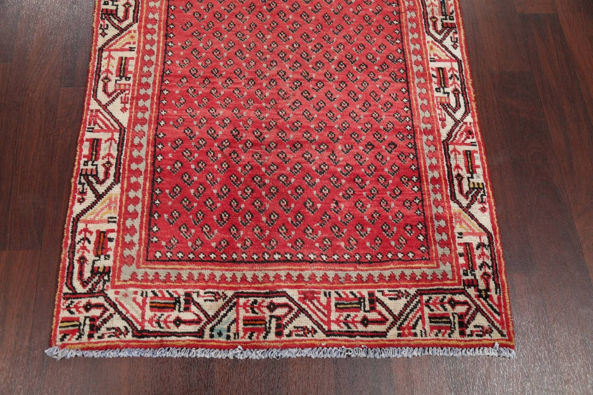All-Over Paisley Botemir Persian Hand-Knotted 3x10 Wool Runner Rug