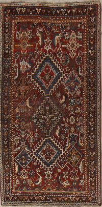Pre-1900 Vegetable Dye Kashkoli Persian Hand-Knotted 3x6 Runner Rug