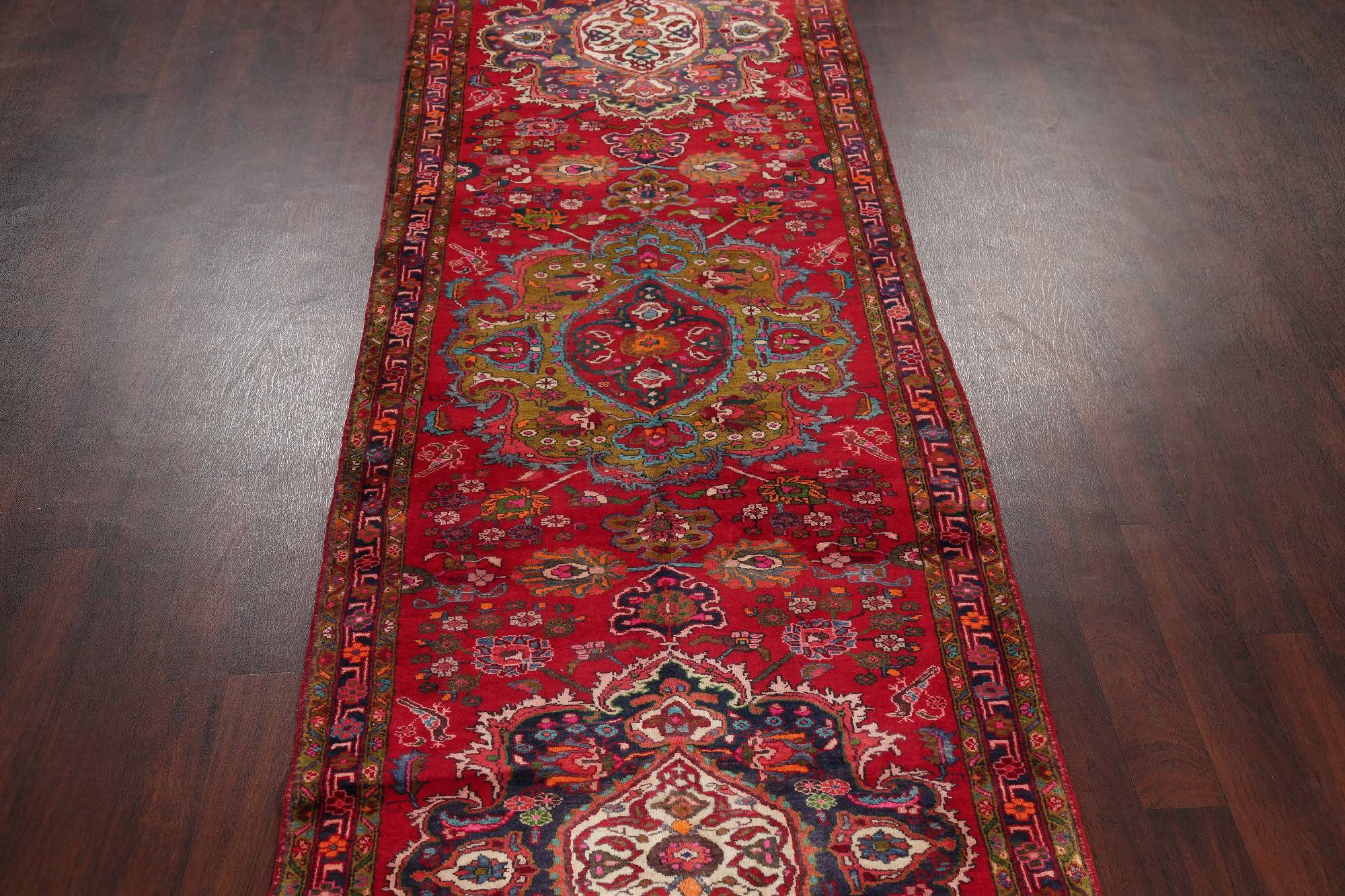 Animal Pictorial Heriz Persian Hand-Knotted 4x14 Wool Runner Rug