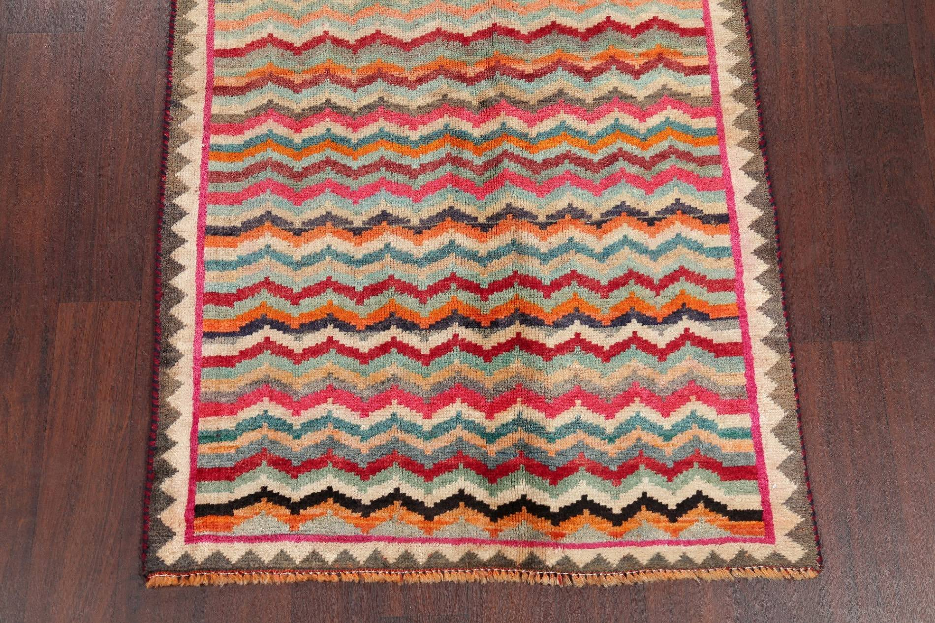 Antique Gabbeh Persian Hand-Knotted 3x6 Wool Runner Rug
