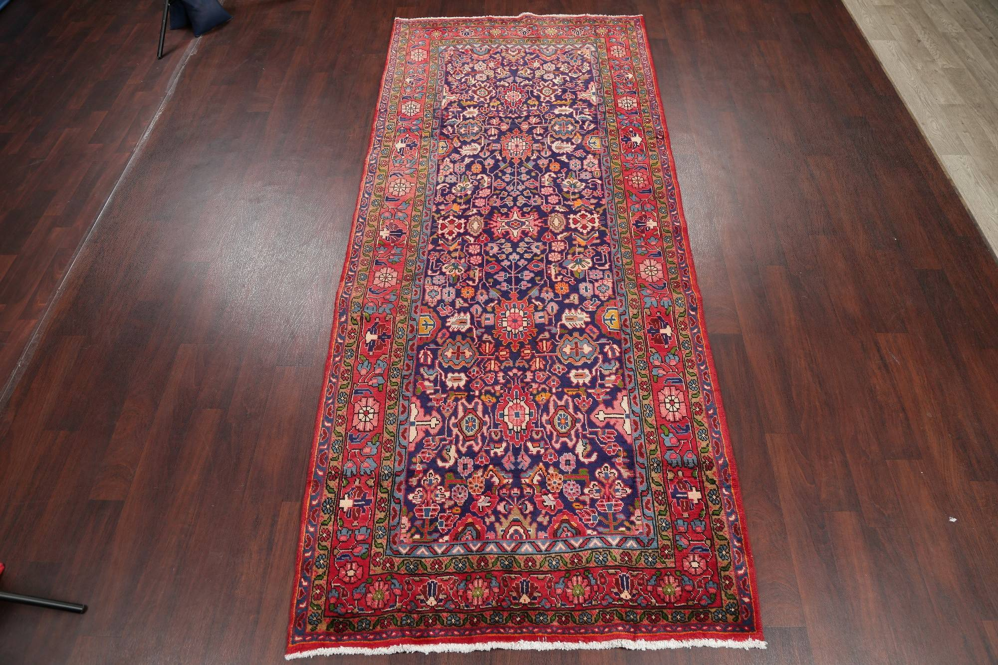 Geometric Sultanabad Persian Hand-Knotted 4x11 Wool Runner Rug