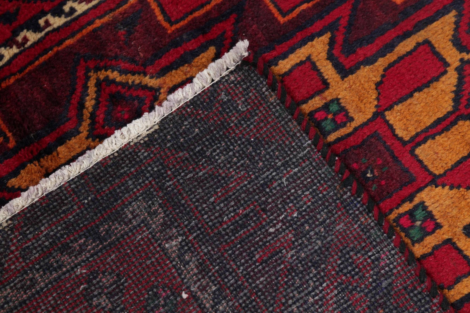 Red Geometric Balouch Persian Hand-Knotted 3x9 Wool Runner Rug