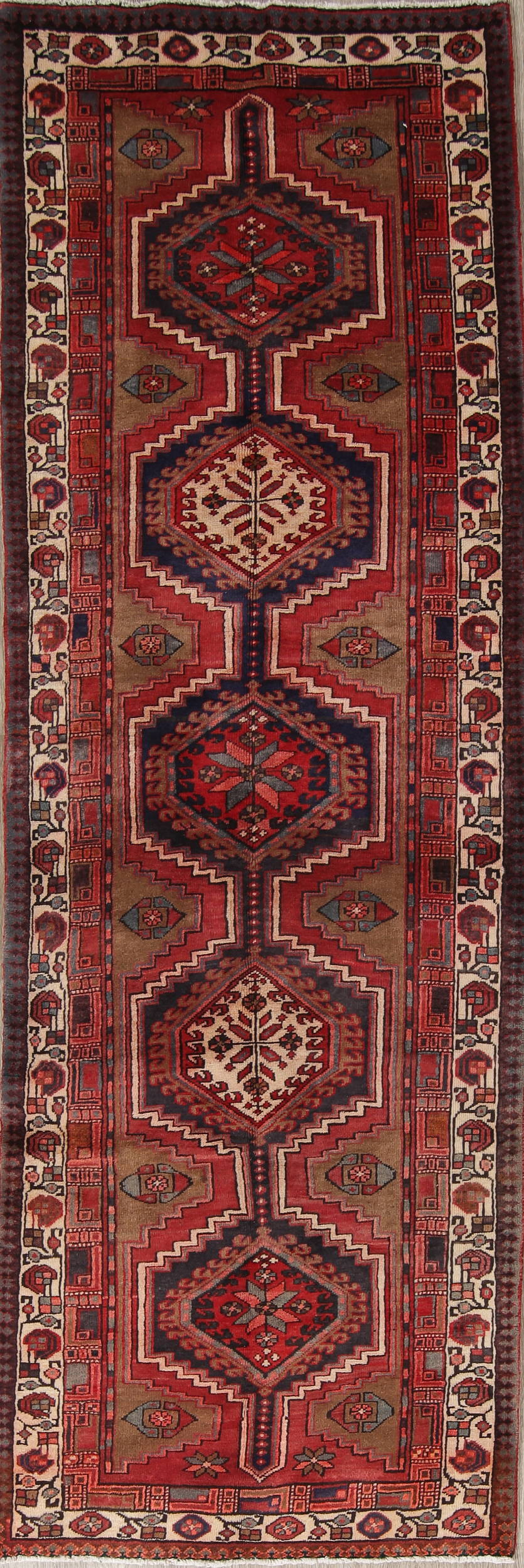 Geometric Ardebil Persian Hand-Knotted 3x11 Wool Runner Rug