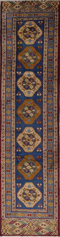 Geometric Turkoman Persian Tribal 2x10 Wool Runner Rug