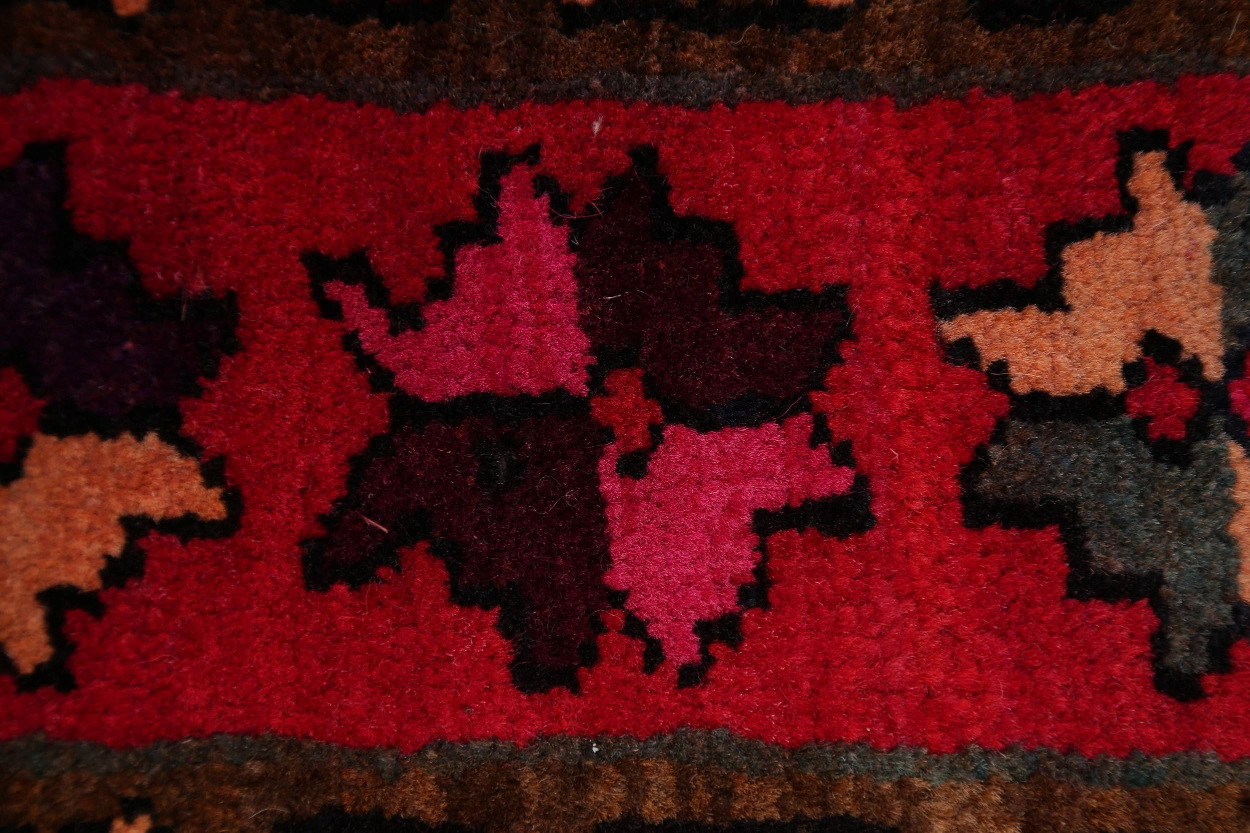 Geometric Tribal Meshkin Persian Hand-Knotted 4x10 Wool Runner Rug