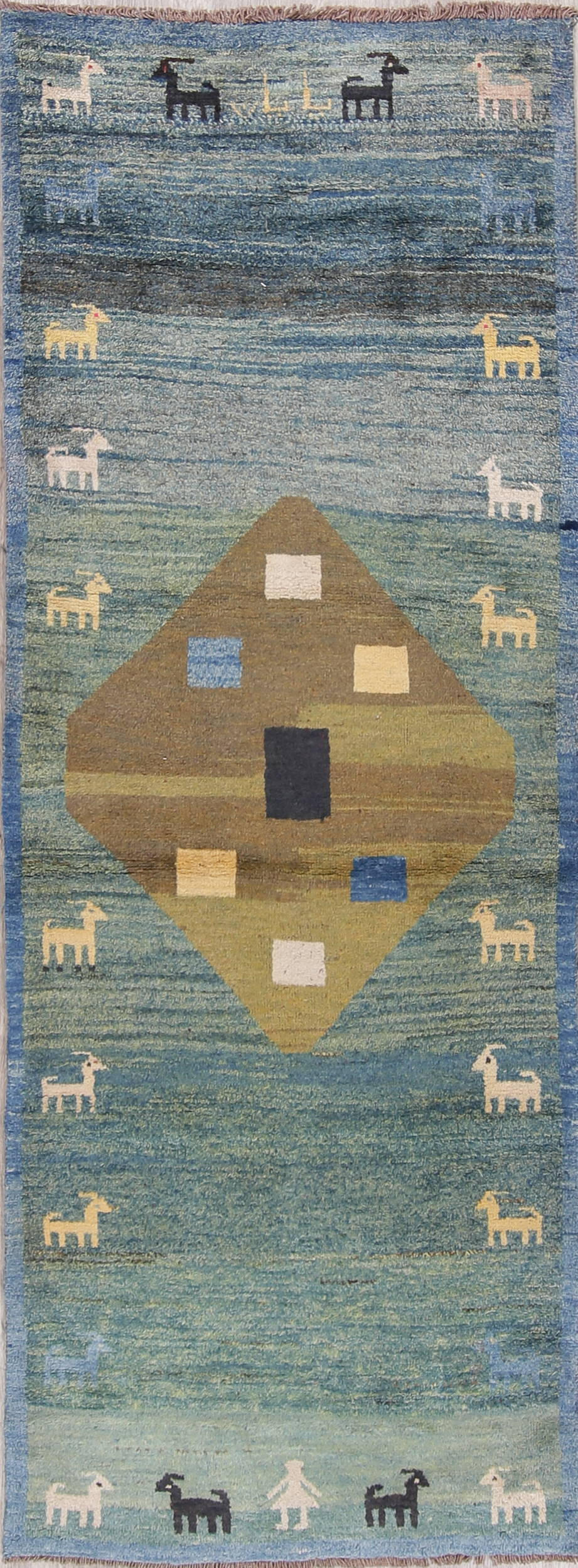 Teal Blue Tribal Gabbeh Persian Hand-Knotted 3x9 Wool Runner Rug