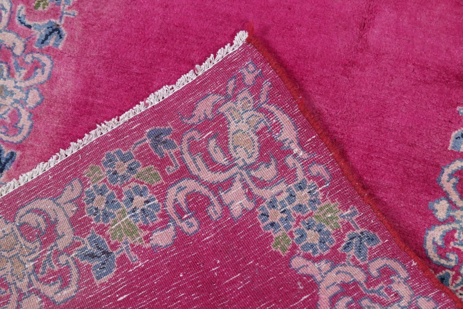 Magenta Pink Tabriz Persian Hand-Knotted 3x8 Wool Runner Rug
